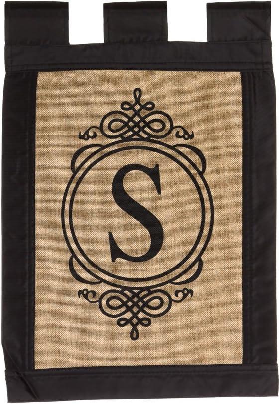 "Evergreen ""S"" Monogram Double-Sided Burlap Garden Flag - 12.5""W x 18""H"