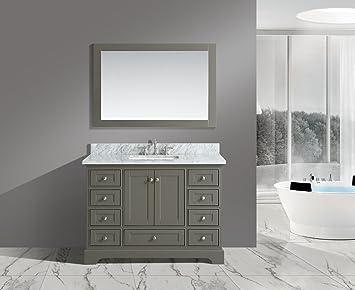 Urbanfurnishing Net Jocelyn 48 Inch 48 Bathroom Sink Vanity Set With White Italian Carrara Marble Top Distressed Gray