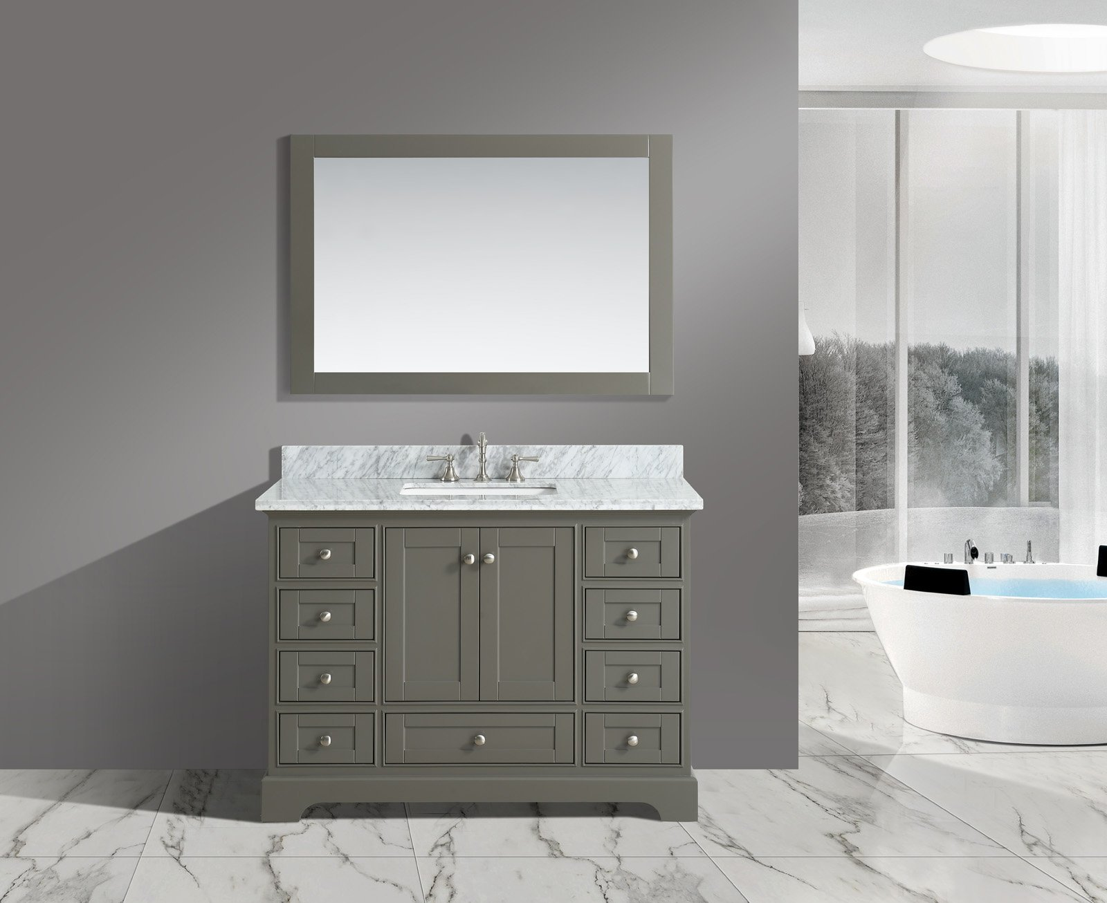 UrbanFurnishing.net - Jocelyn 48-Inch (48'') Bathroom Sink Vanity Set with White Italian Carrara Marble Top - Distressed Gray by UrbanFurnishing.net