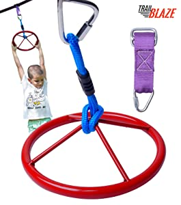Trailblaze Hanging Wheel for Ninja Warrior Slackline Hanging Obstacle Course for Kids