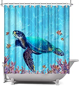 ArtBones Sea Turtle Fabric Shower Curtain 72x72 inch with Hooks Blue Ocean Under Water World Lovely Fish Coral Reef Coastal Bath Curtain Waterproof Polyester Fabric