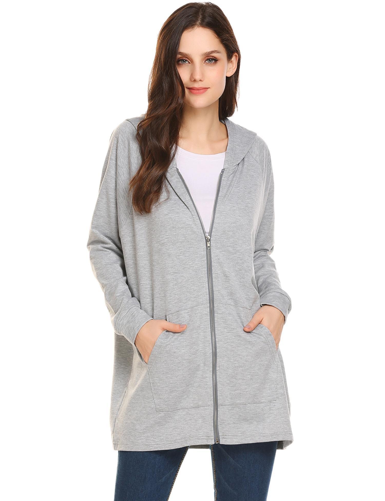 Zeagoo Women's French Terry Full-Zip Long Raglan Sleeve Hoodie Sweatshirt Gray Medium