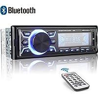 Autoradio Bluetooth, 1 Din Radio de Voiture, 7 Couleurs Poste Radio Stéréo FM Radio USB/SD/AUX/EQ/Lecteur MP3 Autoradio 4x52W