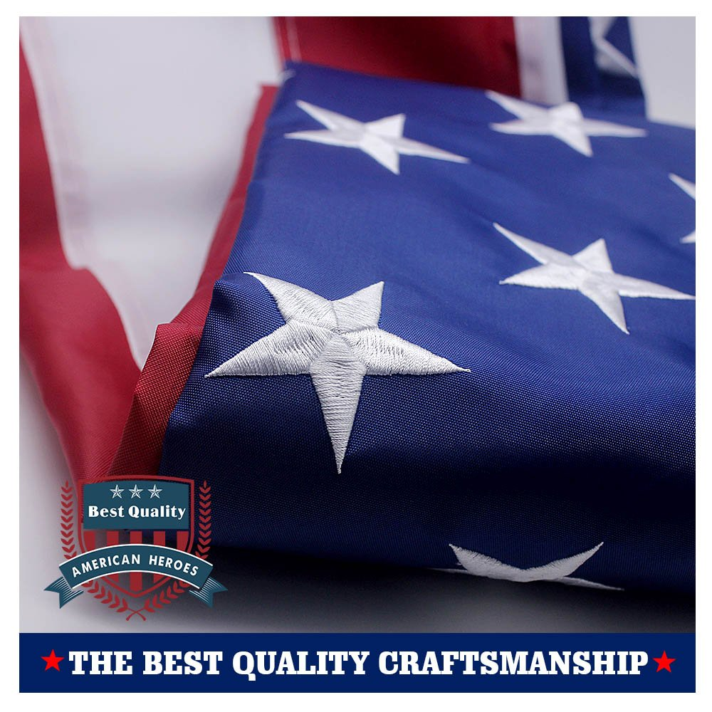 VSVO American Flag 4x6 ft - Long Lasting Heavyweight Nylon Built for Outdoor Use, Embroidered Stars - Sewn Stripes - Brass Grommets - UV Protection