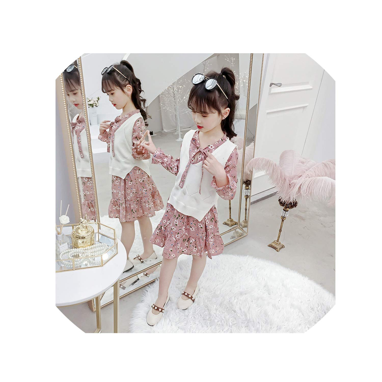 3-12 Yrs Baby Girls Long Sleeve Dress Knit Vest+Dress Print 2 Piece Sets Children Dresses 2019 New Winter Spring Kids Costume,Beige,12