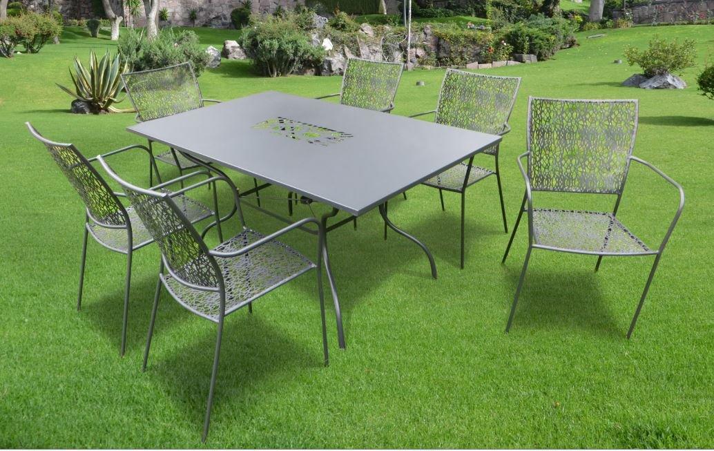 7-teilige Luxus Gartenmöbelgruppe Algiri schwarz aus dem Hause Landmann Belardo