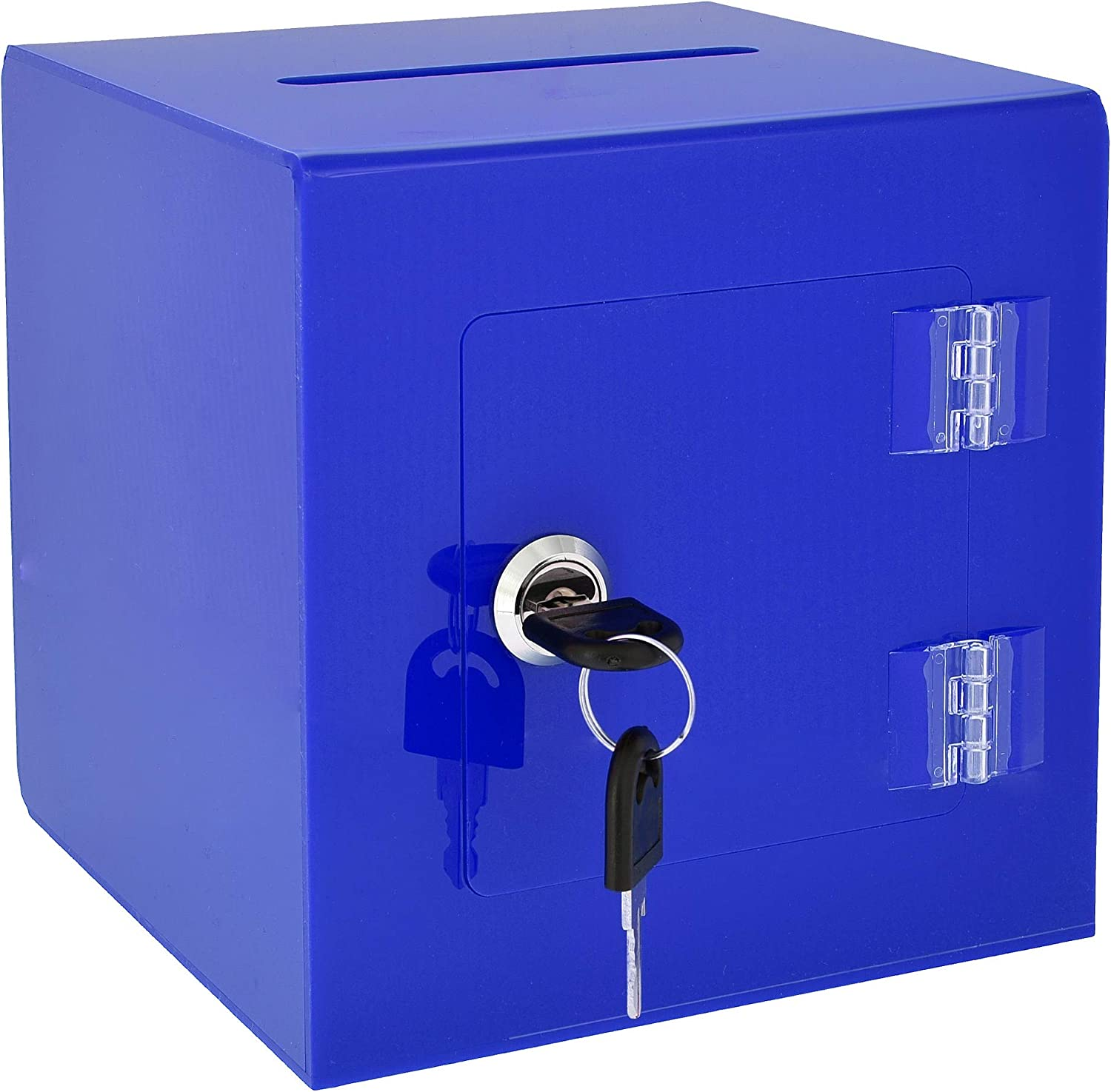 """AdirOffice 6"""" x 6'' Acrylic Ballot Box Donation Box with Easy Open Rear Door - Durable Acrylic Box with Lock - Ideal for Voting, Charity & Suggestion Collection - Blue"""