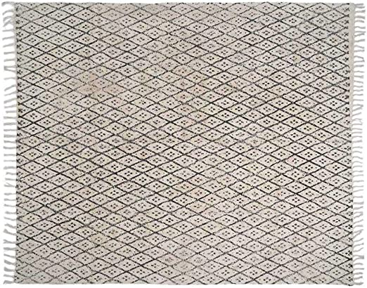 Black Velvet Studio - Alfombra Marrakesh 100% algodón, Color Natural y Negro. Shaggy Decorativa de Pelo Largo con Rombos Estampados, Flecos en los Bordes 270x230 cm.: Amazon.es: Juguetes y juegos