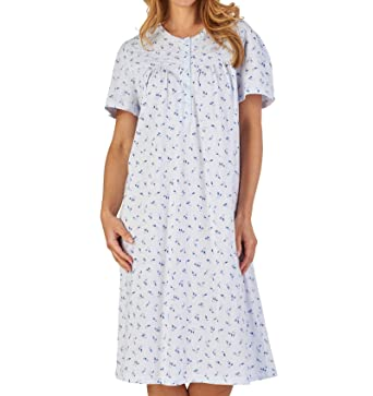 Slenderella Ladies Jersey Cotton Floral   Spot Nightdress Short Sleeve  Nightie UK 10 12 ( c0247bcaf