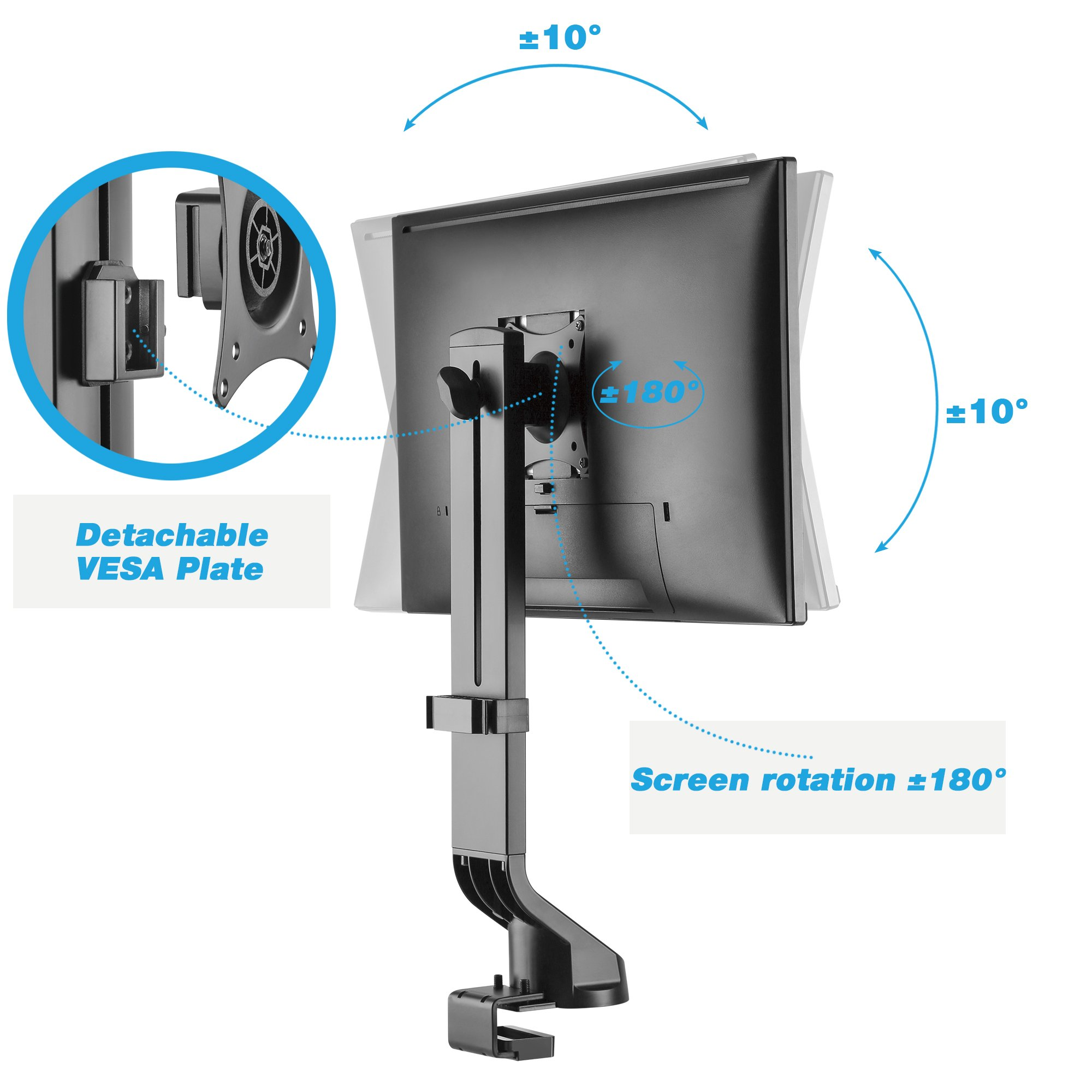 AVLT-Power Single Monitor Mount for Standing Desk Workstation - Extra Height Adjustment Range - Heavy Duty - Holds 17'' to 32'' Screens, up to 17.6 lbs, VESA 75x75mm 100x100mm by AVLT-Power (Image #3)