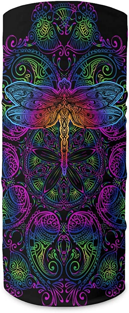 Charzee Dragonfly Insect Mandala Printed Headbands Bandana Fashion Magic Wide Windproof Multi-Functional Face Cover Tube for Sports