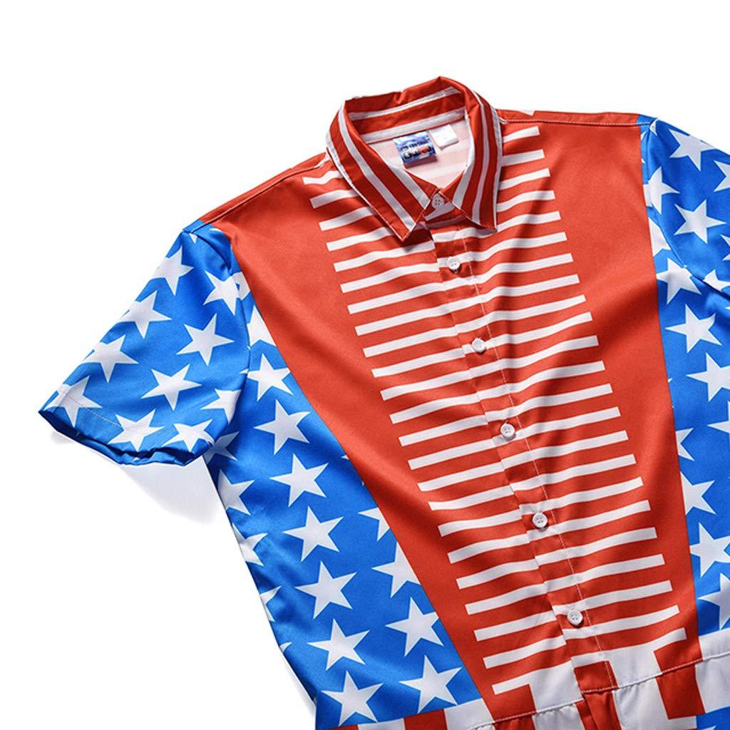 Mens Summer 3D National Flag Printed Splicing Short Sleeve T-shirt Top Blouse Print Jumpsuit