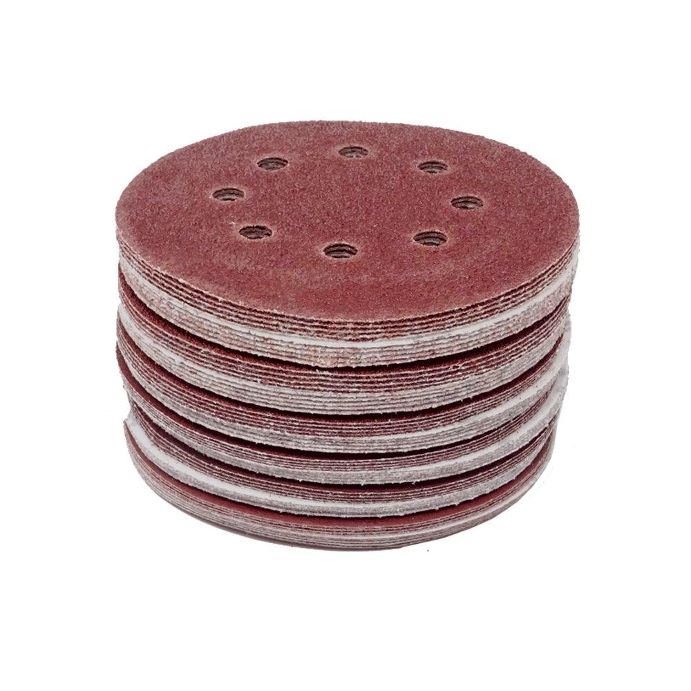 50 Pi/èce Disques de Meulage de Velcro /ø 125 mm Grosseur de grain 40 pour ponceuse Exzenter 8 Trous