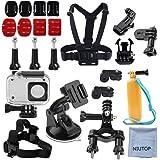 NIUTOP Xiaomi Yi 2/4K Accessori Kit,Set of 23 Xiaoyi 4K II Custodia impermeabile + Strap Head + Chest Harness + Car ventosa + bici manubrio + Floaty Handle Kit Action Camera Starter
