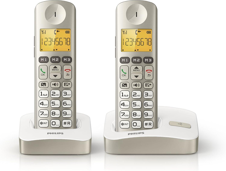 Philips - Teléfono fijo digital (inalámbrico, DECT), blanco (importado): Amazon.es: Electrónica