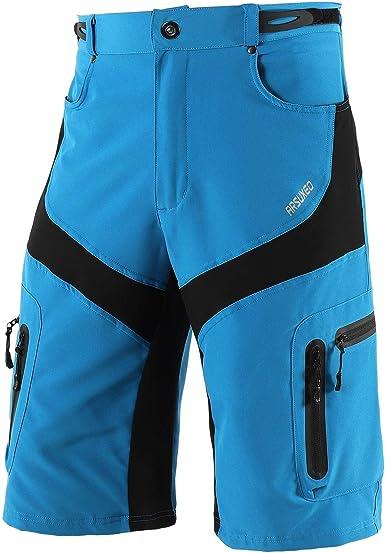 ARSUXEO Hombres Pantalones Cortos de Ciclista Shorts Casuales con Bolsillo con Cremallera 1806