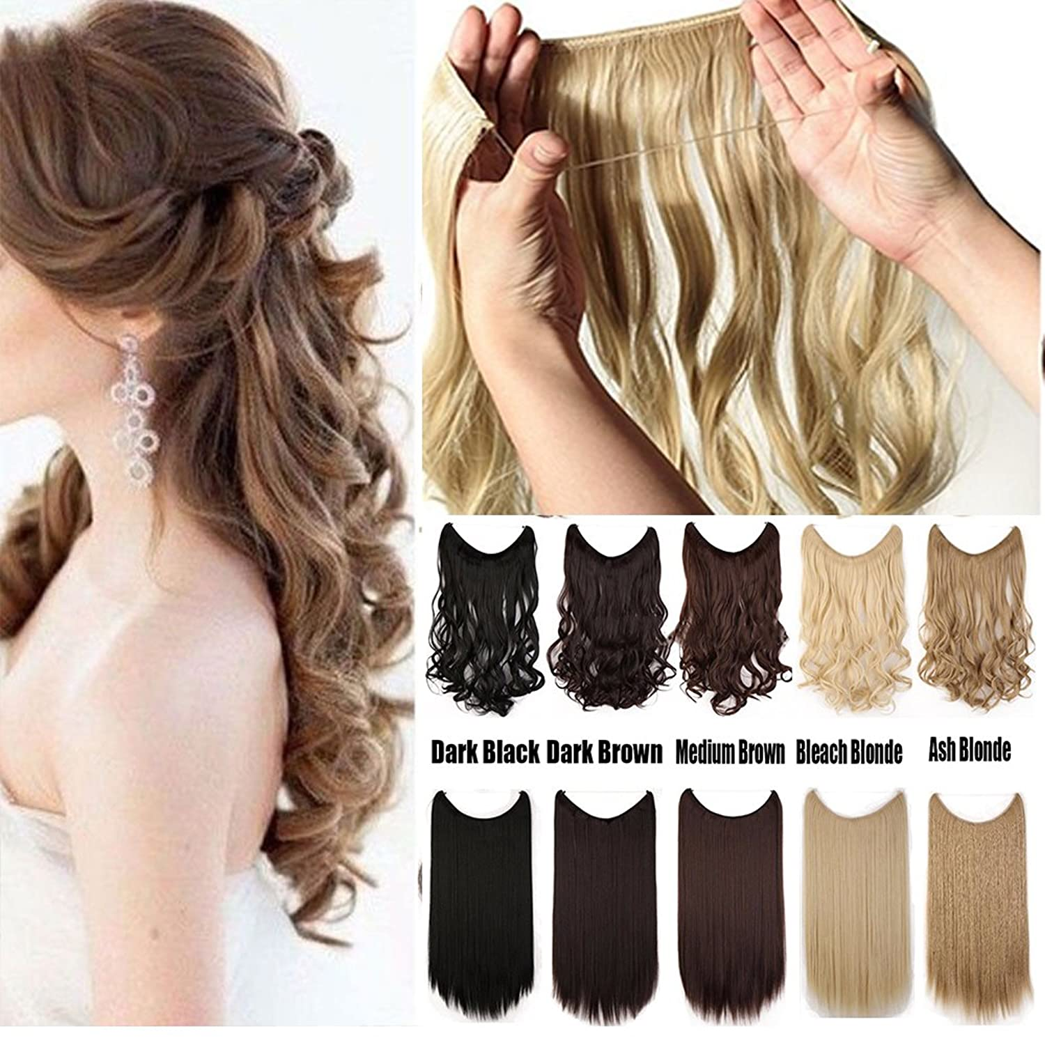 S Noilite Women Rubber Band Full Head Hair Extensions 24 125g Curly