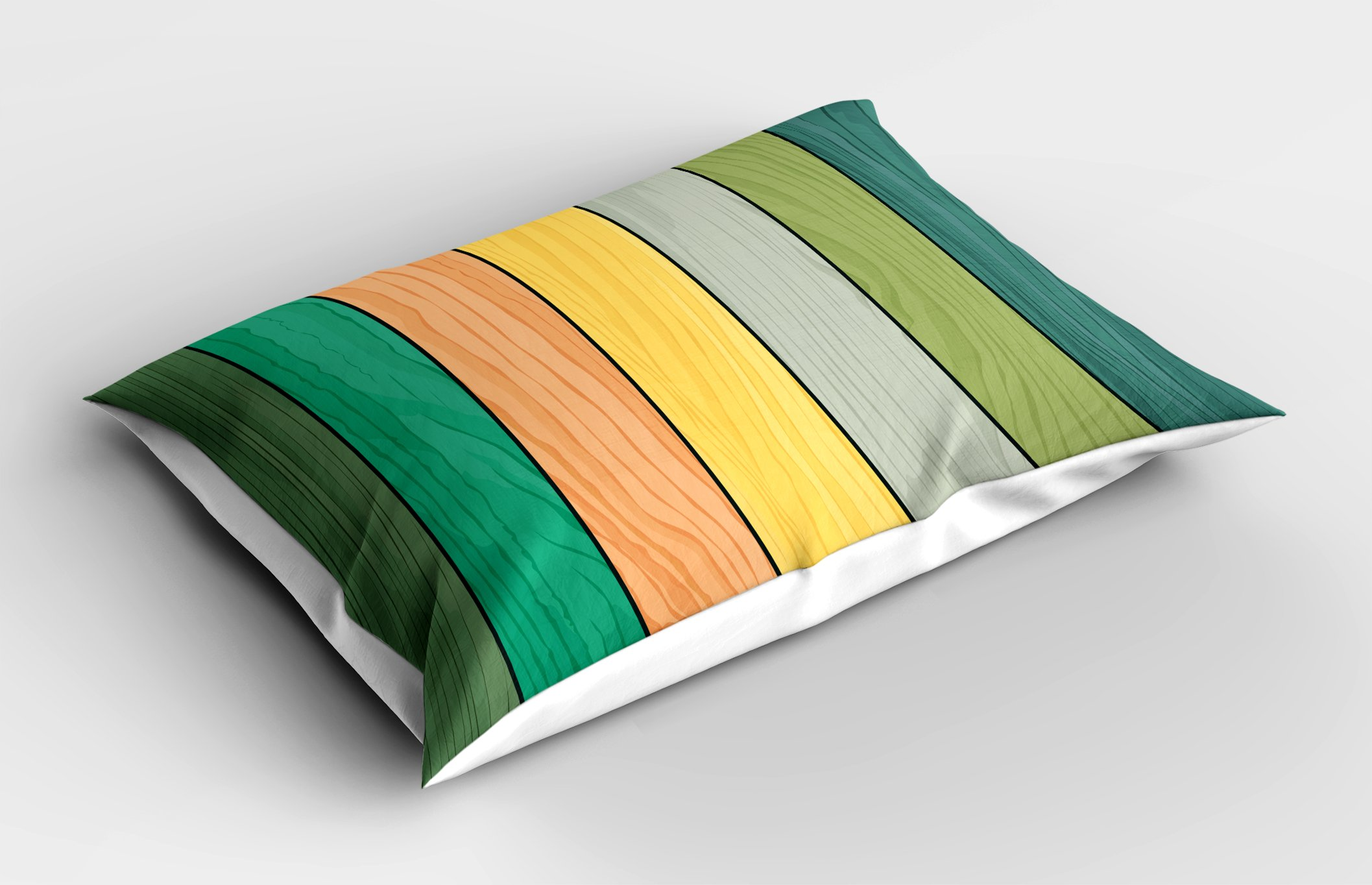 Lunarable Colorful Pillow Sham, Realistic Wood Texture Pattern on Colorful Stripes Timber Structure Detail Image, Decorative Standard Queen Size Printed Pillowcase, 30 X 20 inches, Multicolor by Lunarable (Image #2)