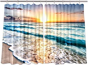 NYMB Tropical Ocean Sunset Scenery Kitchen Window Curtains, Wave on Sea Sand Beach Curtains Panels, Kitchen Decorations Window Drapes, Window Treatment Sets with Hooks, 55X39Inches