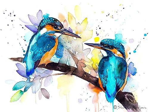 Animal Bird Watercolor Painting Home Decor Wall Art Kingfisher Print