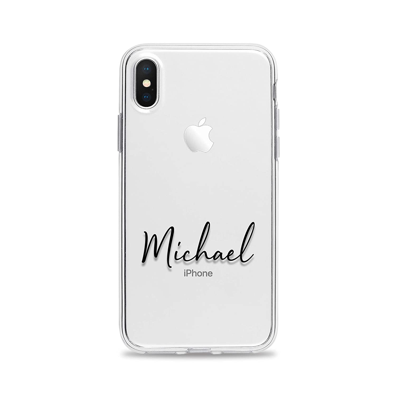Personalized Custom Name Minimal Clear Phone Case for iPhone XS Max XR X 8 Plus 7 6s 6 SE 5s 5 Slim Soft Flexible TPU Cover Jelly