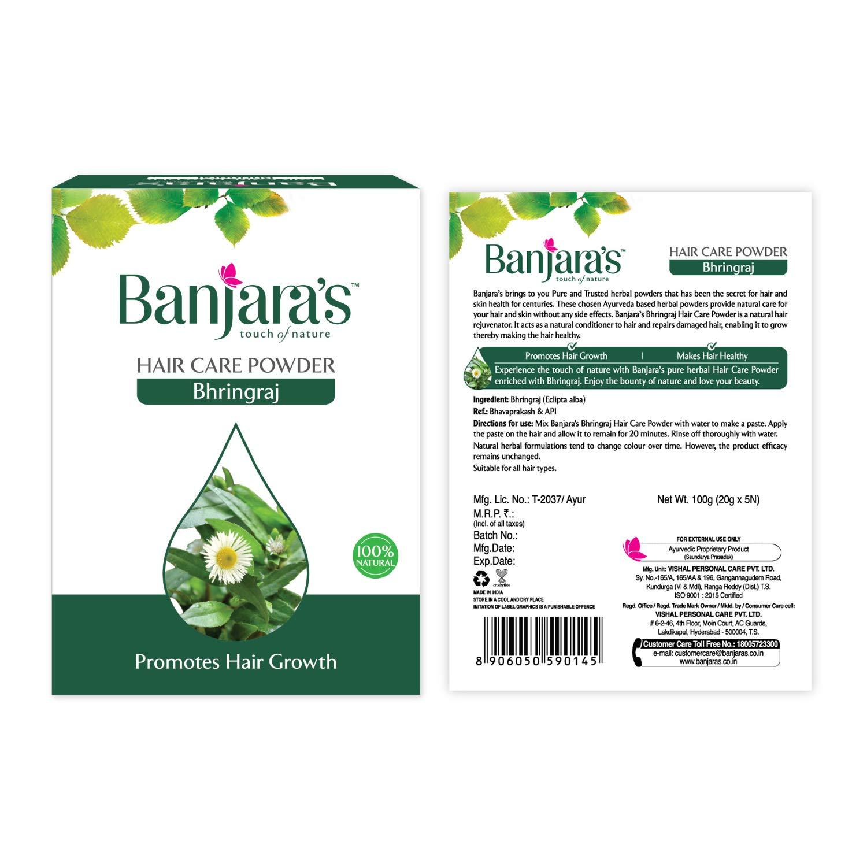 Banjara's 3 Lot X Bhringraj Maka Eclipta Alba Hair Pack Powder 100Gm