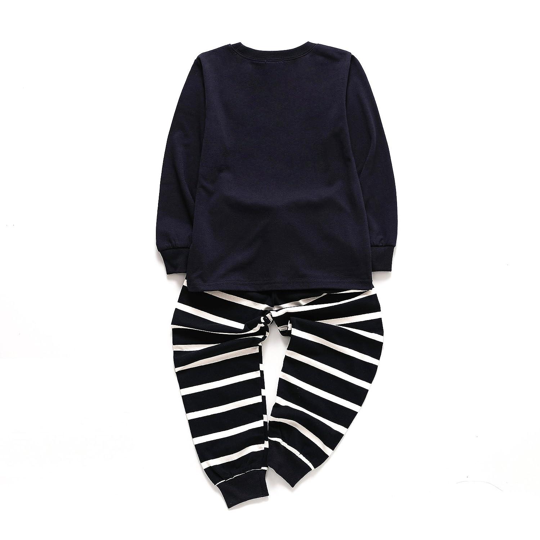 EULLA Kinder Jungen Pyjama Schlafanz/üge Lange Zweiteiliger Schlafanzug 1-7 Jahre