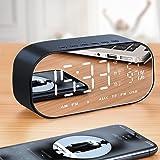 WINOMO Bluetooth Speaker Alarm Clock Radio Wireless Subwoofer Creative Large Mirror Screen Display of Temperature Bedside Alarm Sound Box for
