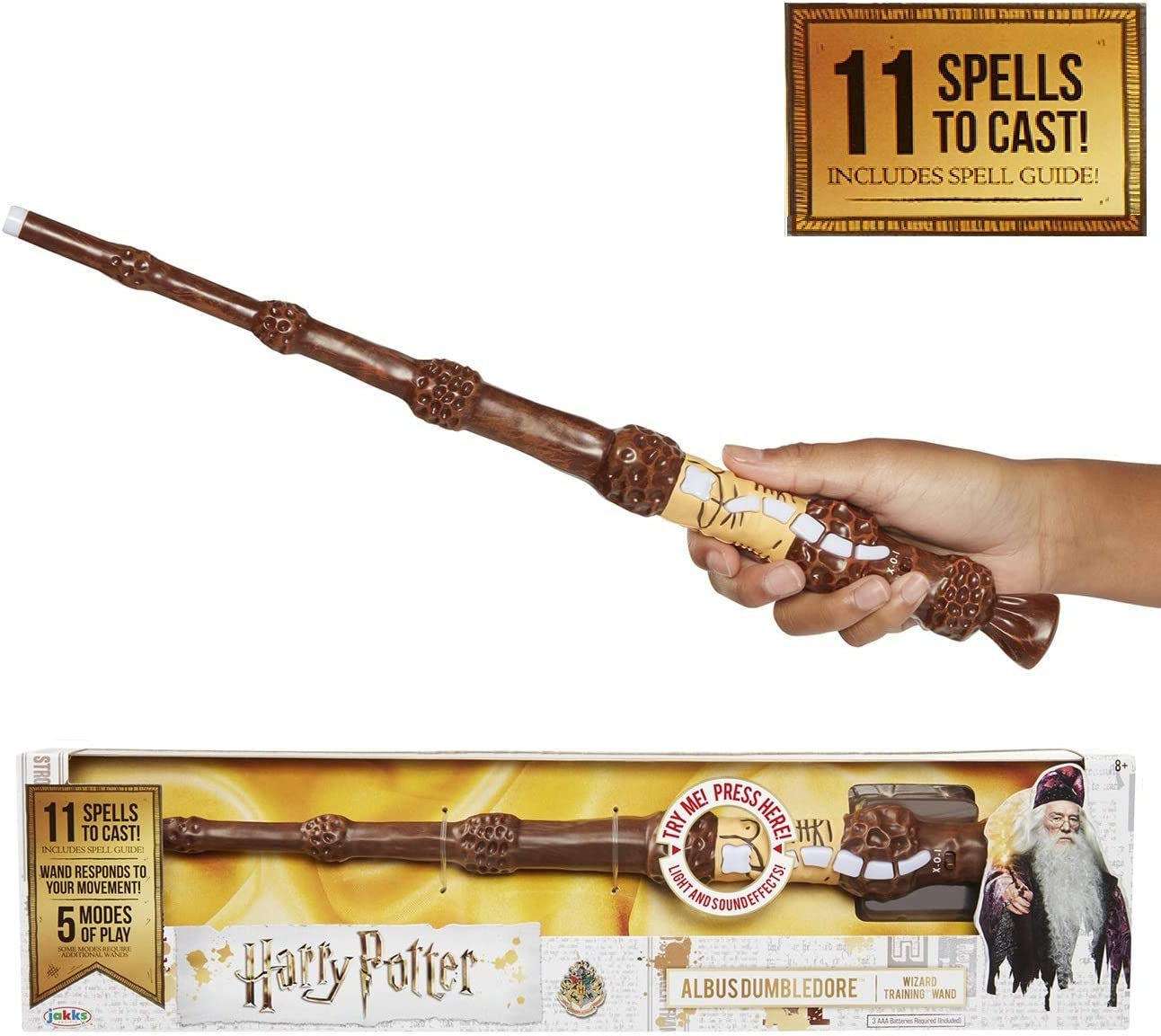 HARRY POTTER Varita Magica Con Hechizos Interactive Wizard Wand Exclusive Wave Dumbledore 38 cm, multicolor, Talla única (Elbenwald 73212) , color/modelo surtido