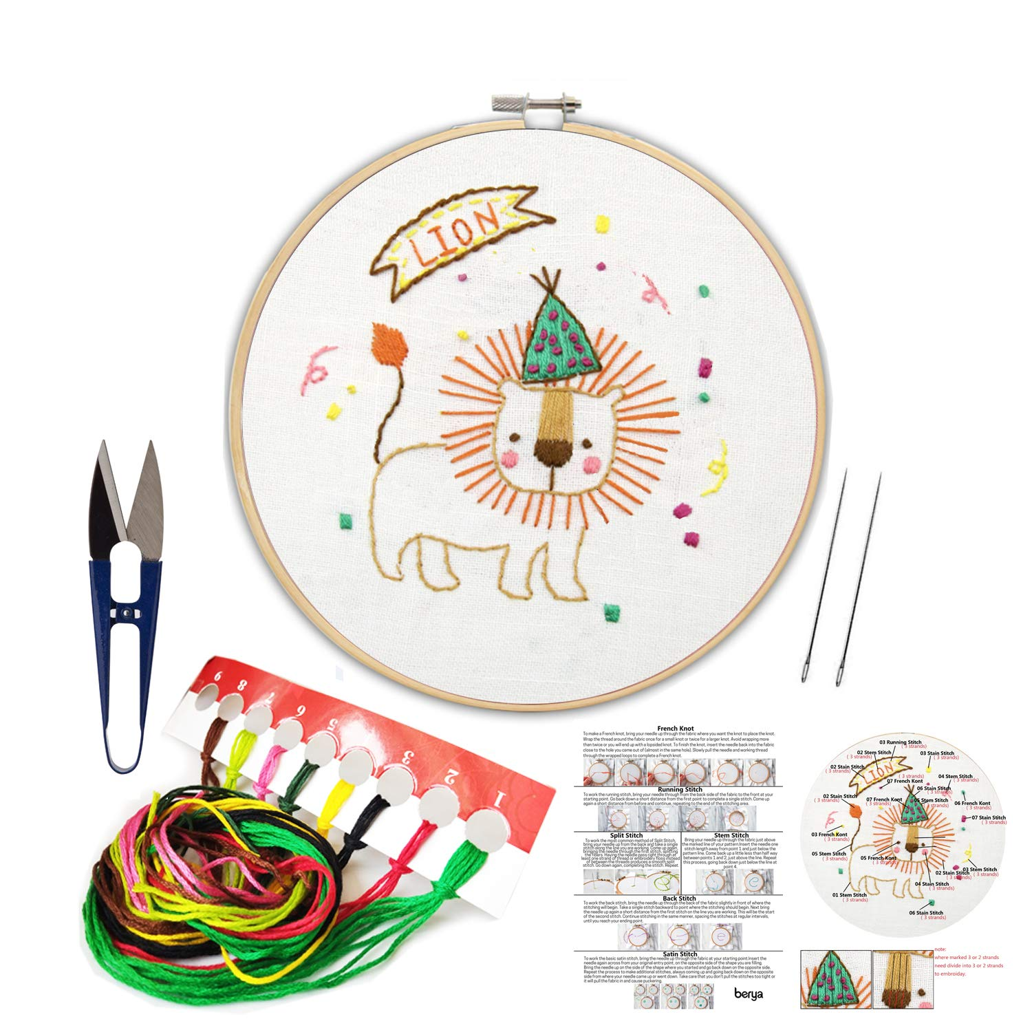 and Other Tools Kit for Beginners Color Threads Handmade Embroidery Starter Kit Set with Pattern Including Embroidery Cloth,Bamboo Embroidery Hoop