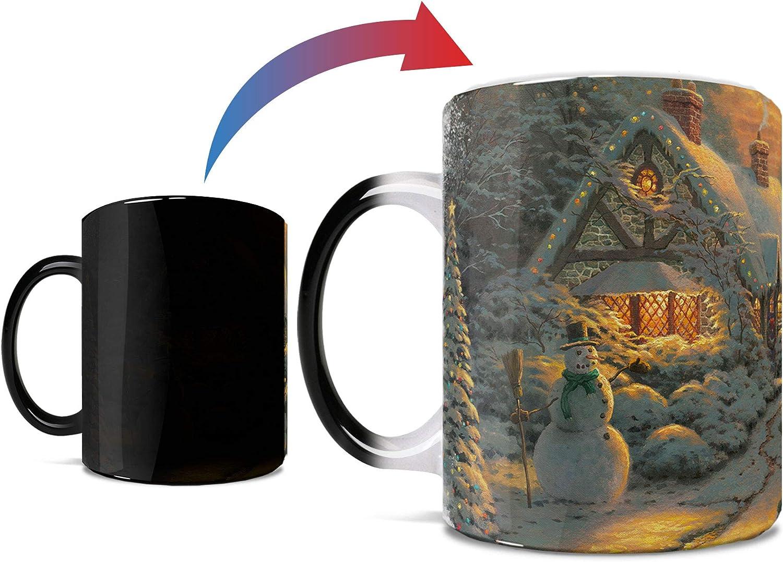 Thomas Kinkade - Christmas Evening - One 11 oz Morphing Mugs Color Changing Heat Sensitive Ceramic Mug – Image Revealed When HOT Liquid Is Added!