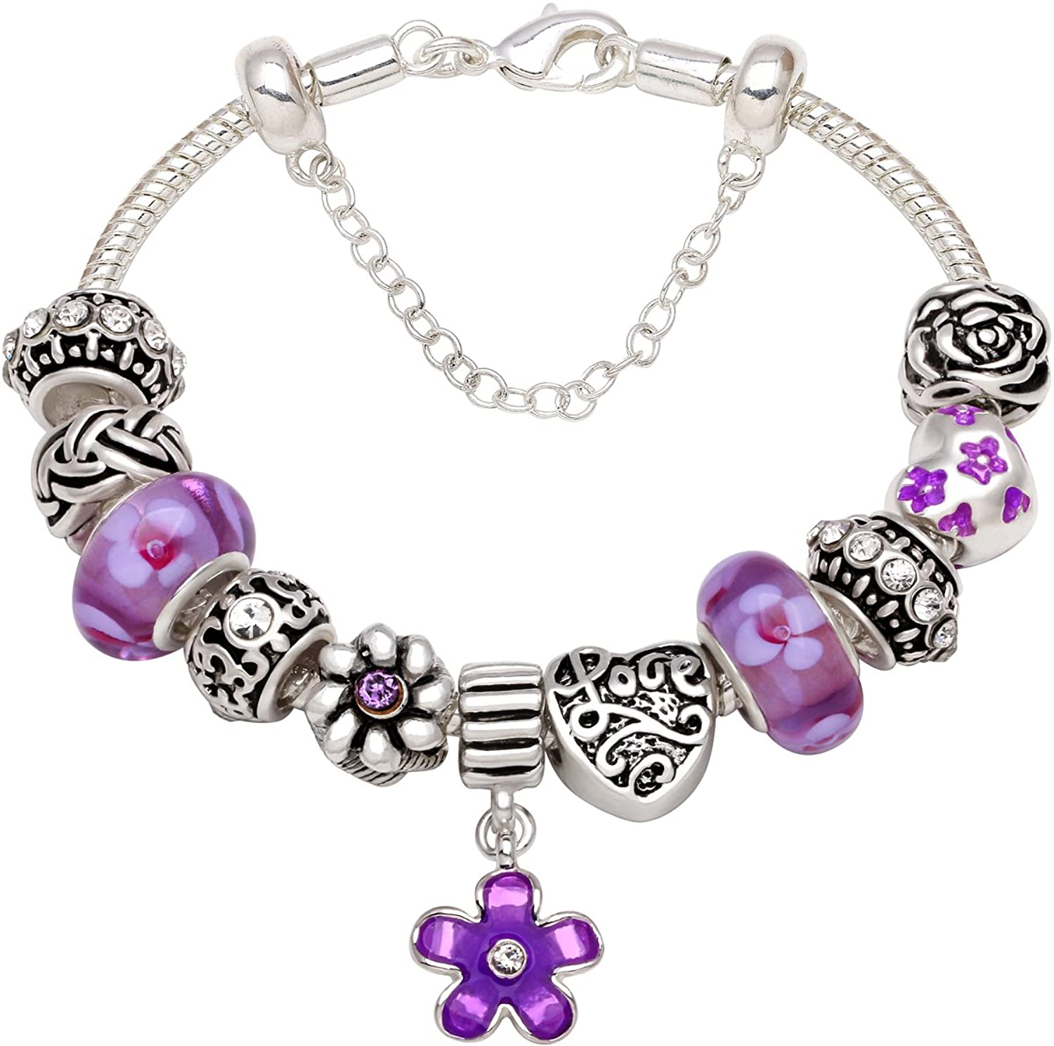 """You Make My Life Full Of Peace And Love"" Silver-Tone Love Heart Purple Flower Bead Charm Bracelet For Christmas Birthday Anniversary Valentine's day Valentine Gift"
