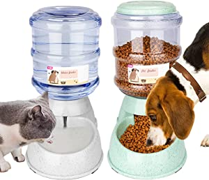 Automatic Dog Feeder and Water Dispenser Set, Pet Water and Food Dispenser for Cat & Dog, Gravity Automatic Water Bowl Big Capacity 1 Gallon x 2