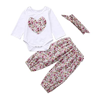 6c4d70162 Kehen Infant Toddler Girl Spring Autum Clothes Outfit Long Sleeve Heart  Romper + Flower Print Pants + Headband Set (White,18-24 Months): Amazon.co. uk: ...