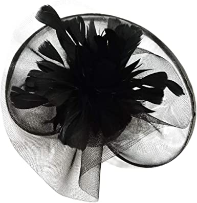 New Church Derby Bridal Wedding Sinamay w Feather Fascinator Cocktail Black 307