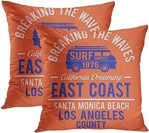 Moladika Set of 2 Throw Pillow Covers Square 18 X 18 Inch Surf Santa Monica Graphics Camping Car Cushion Home Decor Sofa Bedroom Office Polyester Pillowcase