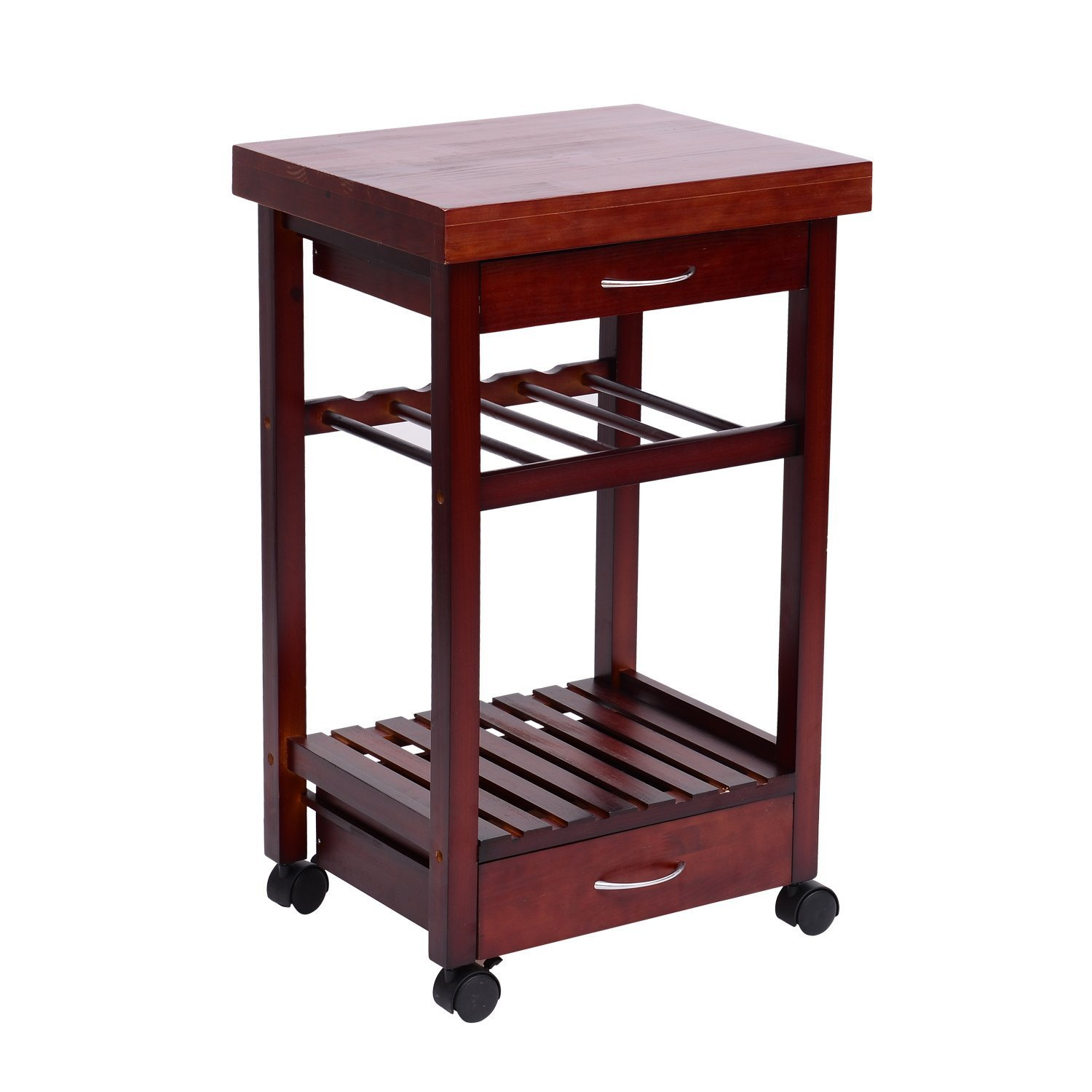 HOMCOM 32'' Rolling Wooden Storage Cart Kitchen Trolley w/Drawers and Wine Rack