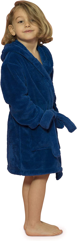 Boys and Girls Hooded Robe Plush Microfleece Bathrobe Soft, Made in Turkey