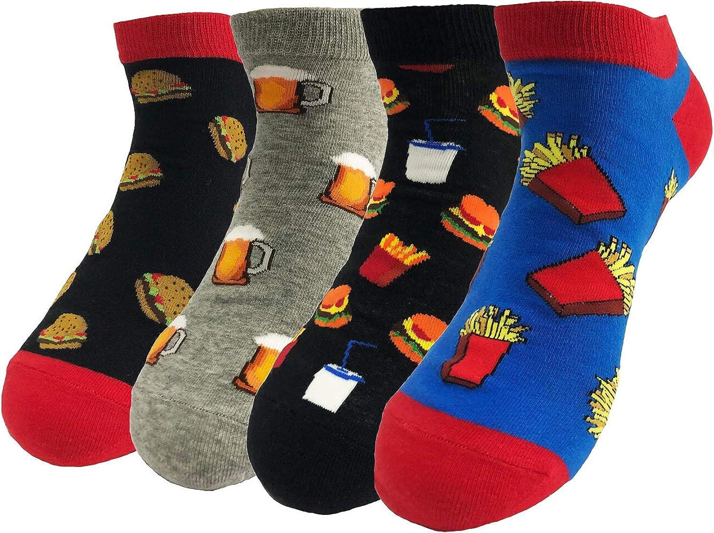 TOSKIP Men's Ankle Socks Funny Crazy Dress Novelty No Show Argyle Socks 4 Pack