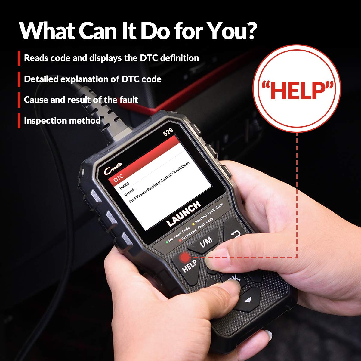 Pass Emission Test LAUNCH Code Reader OBD2 Scanner CR529 Scan Tool Enhanced Universal Automotive Scanner to Turn Off Check Engine Light Advanced Version of 319