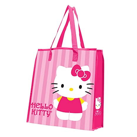 0a708d681 Amazon.com: Vandor 18273 Hello Kitty Stripes Large Recycled Shopper Tote,  Pink, White, Yellow, and Black: Accessory: Kitchen & Dining