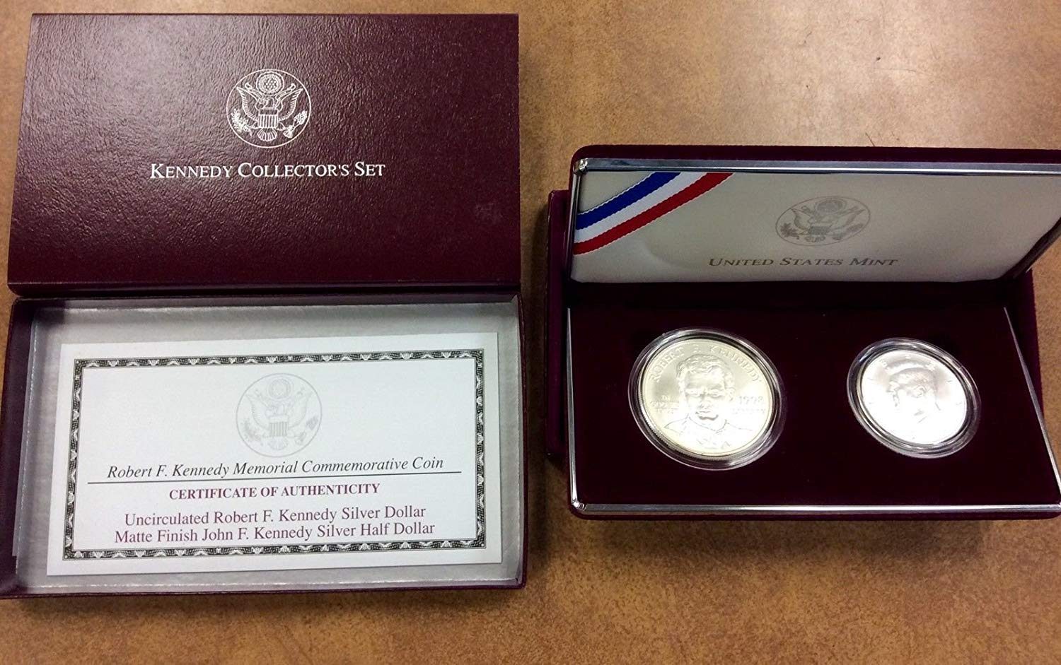 RFK Robert Kennedy Collector/'s Set Silver Dollar /& Matte 1998-S Half Dollar COA