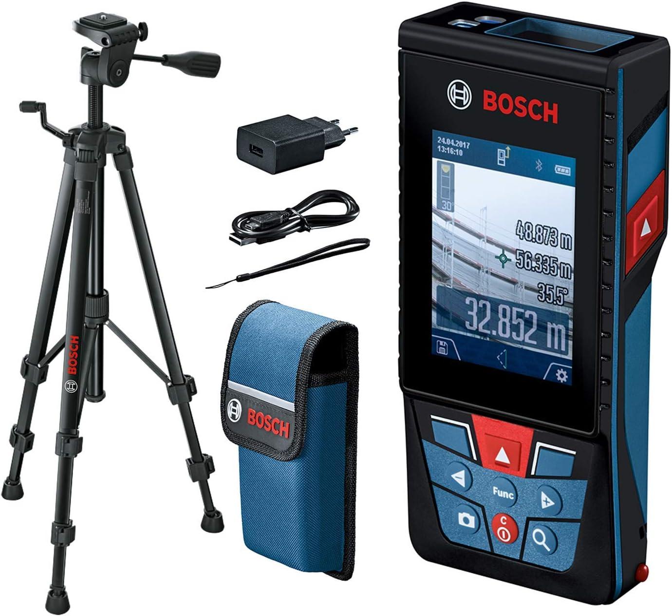 Bosch Professional Medidor láser de distancia GLM 120 C (cámara integrada, transmisión de datos Bluetooth, máx. distancia:120 m, cable micro USB, cargador, correa de transporte, funda, trípode BT 150)
