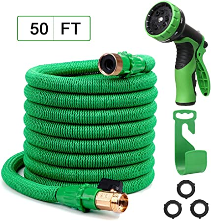NGreen Garden Hose Flexible and Expandable 50 FT Lightweight Retractable Leakproof Durable Gardening Hose Easy Storage Kink Free Collapsible Water Hose with Solid Brass Fittings and Spray Nozzle