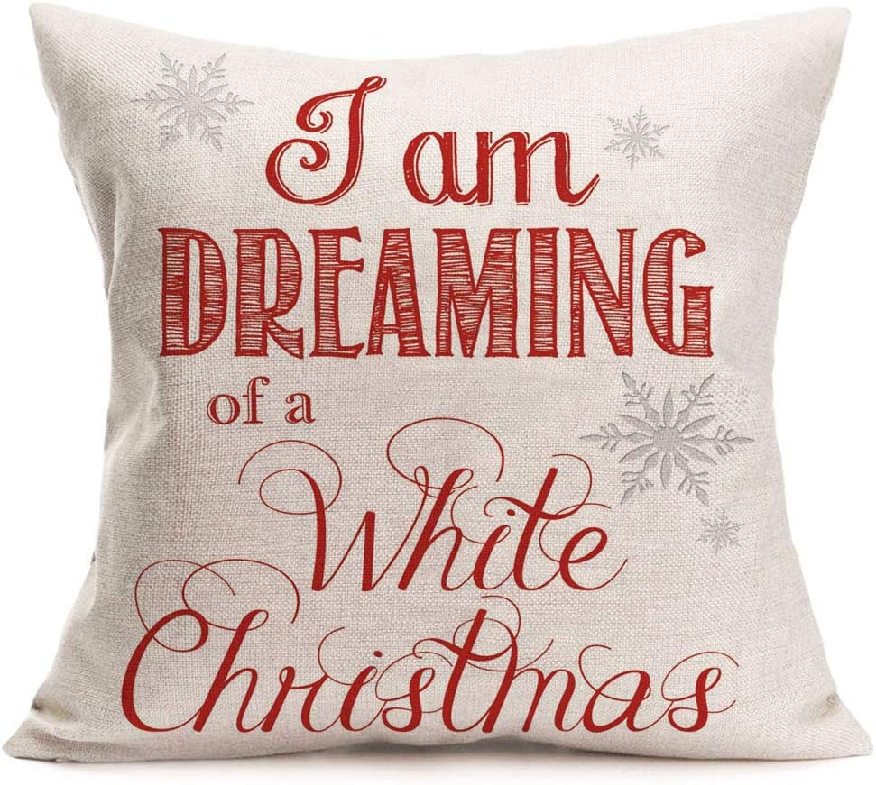 Asamour Christmas Decorative Throw Pillow Covers Xmas Quotes with Snowflake Cotton Linen Throw Pillow Cushion Cover Home Office Pillowcase 18''x18'' (I'm Dreaming of a White Christmas)