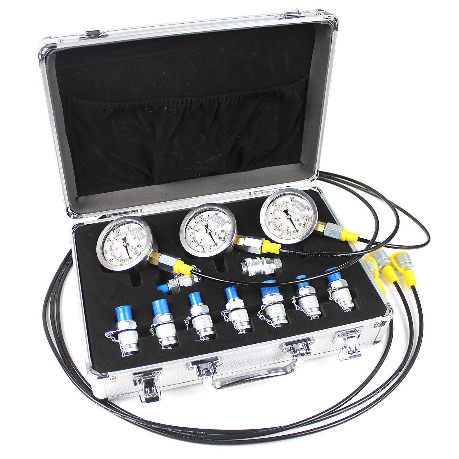 COPACHI 9000psi 25/40/60mpa Hydraulic Pressure Guage Test Kit with 3pcs Oil Gauges 3pcs Test Hose 10pcs Texter Coupling, in a Strong and Light Aluminum Case,Gold and Silver are Randomly Sent