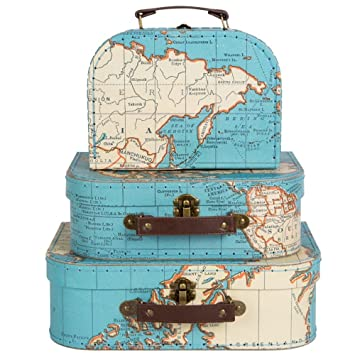 Sass U0026 Belle Set Of 3 World Map Suitcases Storage Boxes
