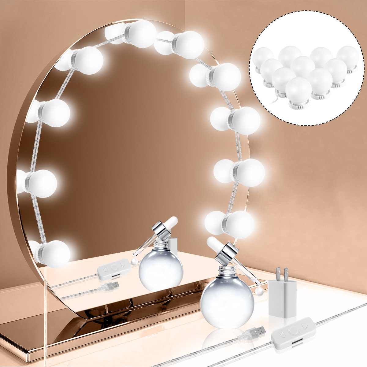 Hollywood Style LED Vanity Mirror Lights Kit, Vanity Lights Makeup Lighting Fixture Strip with 10 Dimmable Light Bulbs, Smart Dimmer, USB Adapter for Makeup Vanity Table Set in Dressing Room by oenbopo