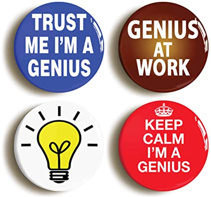 Amazon com: Genius Funny Button Pin Set (Size is 1inch