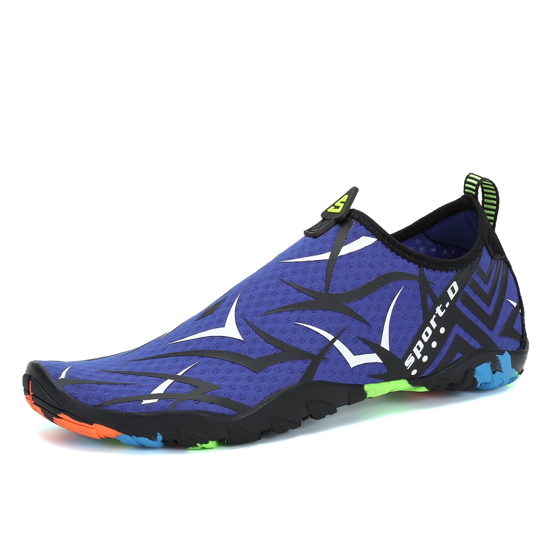 Men Women Water Shoes Quick Dry Barefoot for Swim Diving Surf Aqua Sports Pool Beach Walking Yoga Blue White 4.5 by PUTU